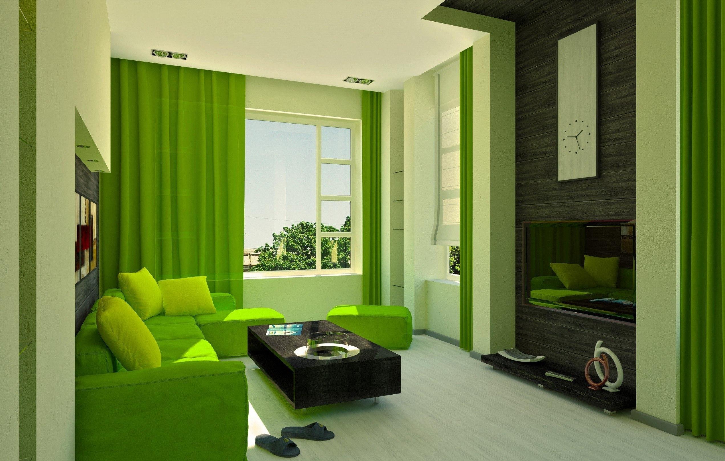 Дизайн комнаты в салатовом цвете фото