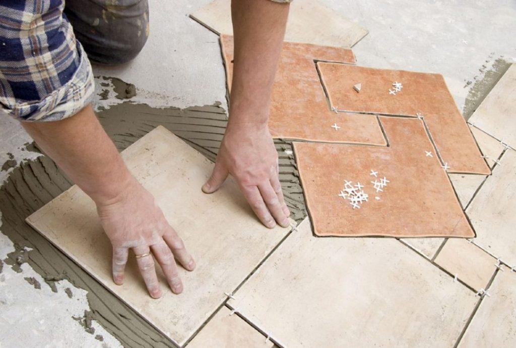 Tile flooring install