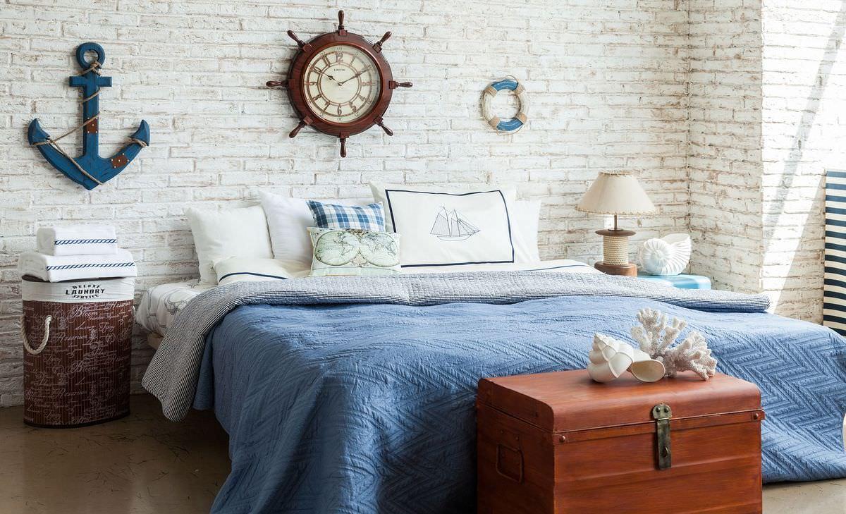 дизайн интерьера спальни в морском стиле