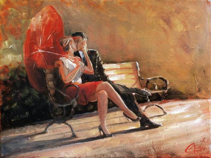 картина маслом влюблённая пара