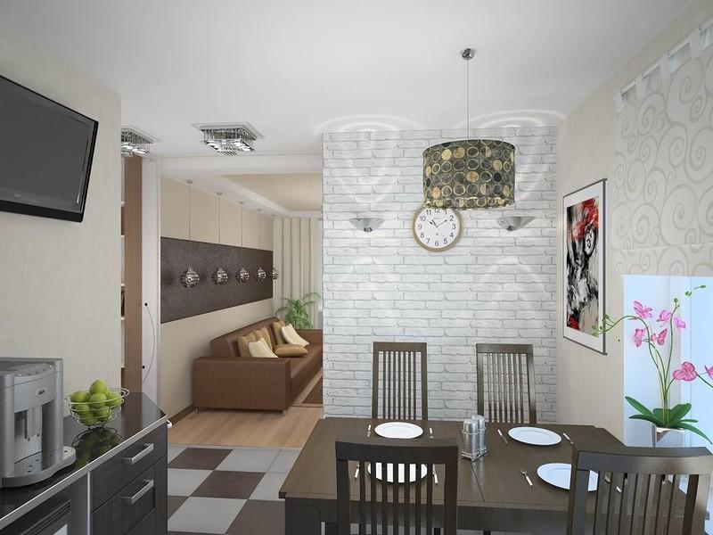 белая кирпичная стена на кухне