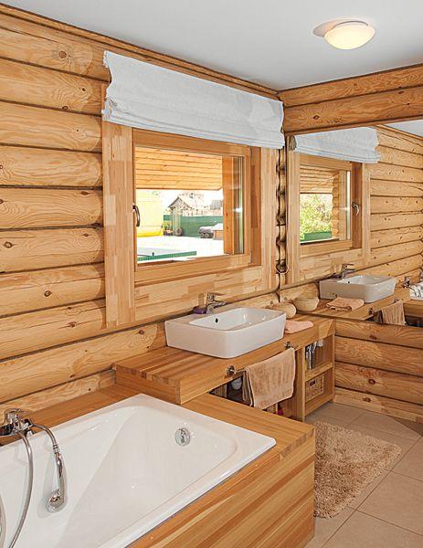 интерьер ванны в бревенчатом доме