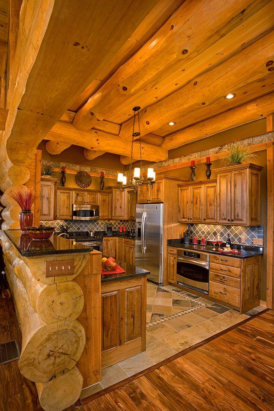 интерьер кухни в бревенчатом доме