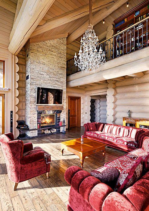 интерьер гостинной в бревенчатом доме