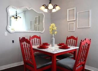 красные стулья в интерьере