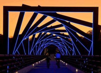 мост де-мойн ночью