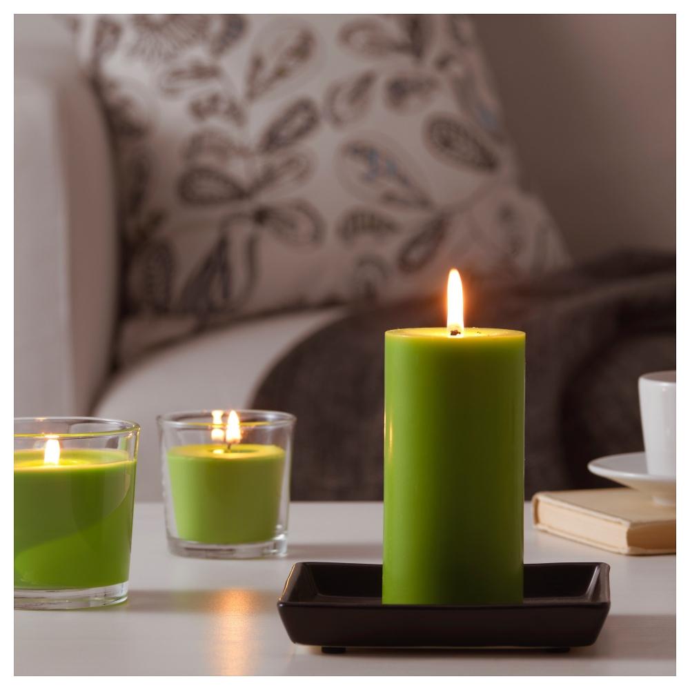 зеленые свечи в интерьере